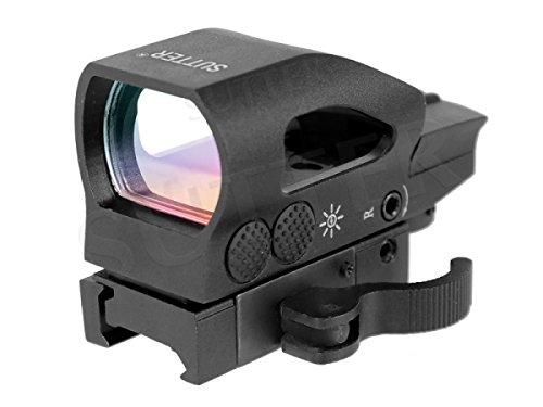 Multi Dot Reflexvisier T8 (rot/grün) mit Schnellspannverschluss / für Weaver- und Picatinny-Schienen / Red Dot Zielvisier Leuchtpunktvisier Zielfernrohr -