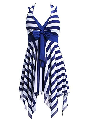 Badeanzug Damen Tankini Größe Größen Badekleid Beachwear Streifen Blau,XL