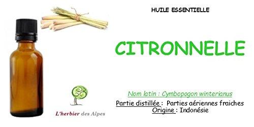 "Huile essentielle de Citronnelle (30 ml) . ""Cymbopogon winterianus"""