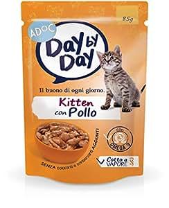Adoc Day By Day Kitten con Pollo per gattini in accrescimento, confezione da 24 pezzi
