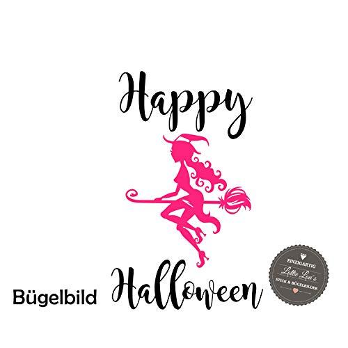 Bügelbild Aufbügler Halloween Hexe Witch Hut Cap Besen Broom in Flex, Glitzer, Flock, Effekt in Wunschgröße