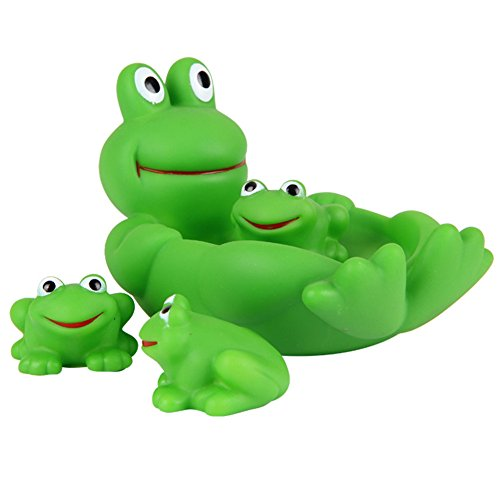 Badespielzeug, Morbuy Eins Große Drei Kleine Baby Bad Spielzeug Schwimmende Quietschen Tier Spielzeug Kinder Bad Spiel Wasser Pool Tub Tiere Sounding Spielzeug (Frosch) (Frosch-gummi-spielzeug)