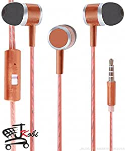 Premium Perfumed / Fragrance In Ear Bud Headset Earphones With Mic Compatible For Samsung Galaxy Mega Plus -Brown
