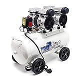 Ölfreier Flüsterkompressor Druckluftkompressor mit 50L Kessel, 2PS, 220l/m und 2x750W