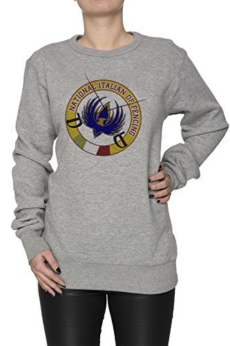 National Italian Of Fending Donna Grigio Felpa Felpe Maglione Pullover Grey Women's Sweatshirt Pullover Jumper