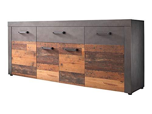 Newfurn Sideboard Kommode Industrial Anrichte Highboard Mehrzweckschrank II 178x77x 40 cm (BxHxT) II [Jamell.Four] in Graphit Grau Matera-Old Wood/Old Wood Wohnzimmer Schlafzimmer Esszimmer