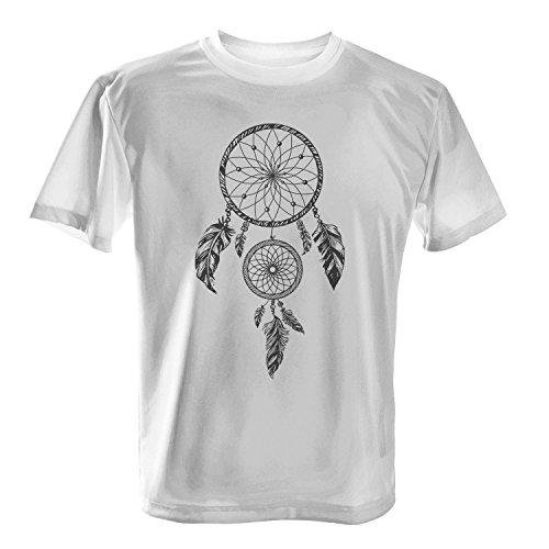 (Fashionalarm Herren T-Shirt - Traumfänger | Fun Shirt als Geschenk Idee für Boho Fans mit Federn, Farbe:weiß;Größe:L)