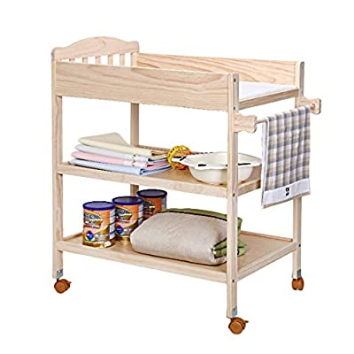 Wood Baby Changing Table with Pad and Wheels, Nursery Infant Dresser Multi Storage for Infants or Babies