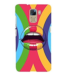 ANIMATED ABSTRACT LIPS IN A MULTICOLOURED CIRCULAR STIPED BACKGROUND 3D Hard Polycarbonate Designer Back Case Cover for Huawei Honor 7