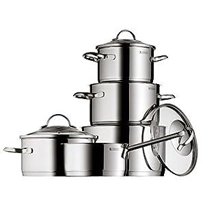 WMF Provence Plus - Batería de Cocina, 5 Piezas, Acero inoxidable, 1 Cacerola de 2.5 l, 3 Ollas de 1.9, 3.3 y 5.7 l, 1 Cazo de 1.5 l