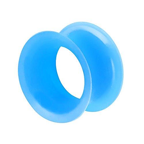 Piercingfaktor Flesh Tunnel Ohr Plug Piercing Silikon Hoher dünner Rand Flexibel Weich Rund Creole Farbig Bunt 8mm Aqua -