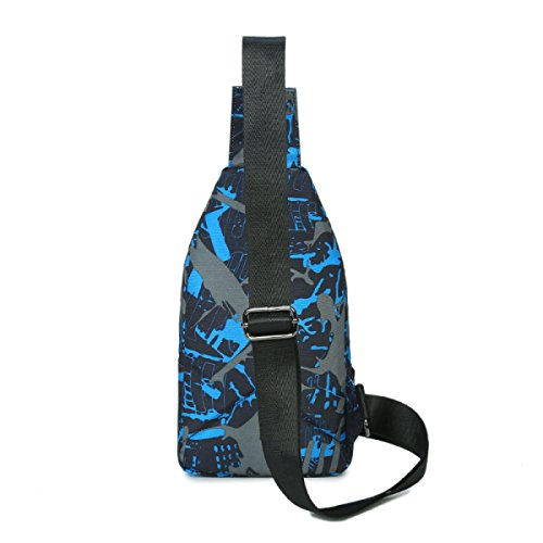 BULAGE Taschen Männer Brustbeutel Sport Oxford Beutel Multi-funktionale Im Freien Kleine Schulranzen Reißfest Wasserdicht Farbe Blue