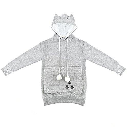 Sudadera con capucha de las señoras del gato del animal doméstico del bolsillo canguro - oreja de gato del bolsillo de la camiseta (gris, L)