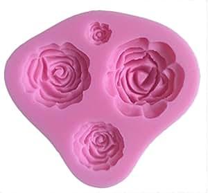 Rose Moule Emporte Pièce Rose Fleur Silicone pour Pâte à Sucre Gâteau Cuisine Outil
