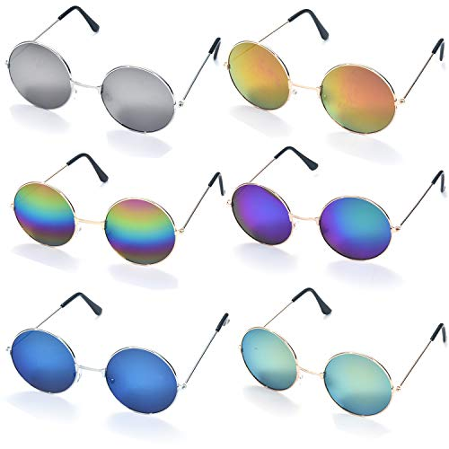 FSMILING Retro Runde Hippie Party Sonnenbrille John 60's Rund Farbige Verspiegelt Gläser (6er Set)