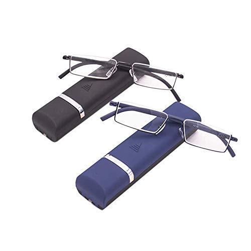 2 stueck Lesebrille mit Ultraleichtem TR90 Rahmen Lesehilfe Halbbrille aus Metallrahmen mit Halbrahmen Sehehilfe mit Brillenetui für Damen und Herren +2.0
