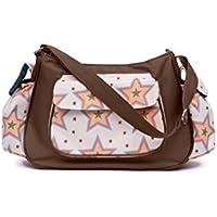 Pink Lining Rosebud estrellas–bolso cambiador Bolso para pañales, color crema y marrón