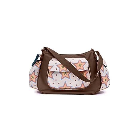 Pink Lining Rosebud estrellas bolso cambiador Bolso para pa ales color crema y marr n