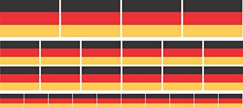 Mini Aufkleber Set glatt - 4x 51x31mm+ 12x 33x20mm + 10x 20x12mm- selbstklebender Sticker - Fahne - Germany - Deutschland - Flagge / Banner / Standarte fürs Auto, Büro, zu Hause und die Schule - Set of 26 (Mini 12-flag)