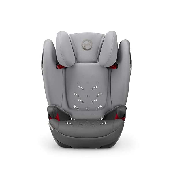 CYBEX Gold Solution S-Fix Child's Car Seat, For Cars with and without ISOFIX, Group 2/3 (15-36 kg), From approx. 3 to approx. 12 years, Lavastone Black  Group 2/3 high back booster seat. suitable from 15 - 36kg. designed to be used until a maximum height of 150cm, approximately 12 years. 3-position optimized reclining headrest prevents the child's head from tipping forwards, and integrated ventilation system keeps them cool. The integrated lisp. system offers increased safety in the event of a side-impact collision by reducing the forces by approximately 25%. 5