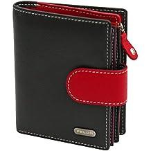 Cartera para mujer - Con bloqueo de transmisiones RFID y 10 ranuras para tarjetas - Cuero auténtico muy suave