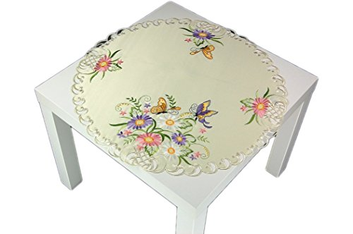 KE rund 60 cm Creme Schmetterlinge Blüten Flieder bunt gestickt Polyesterdecke Frühling Sommer (Mitteldecke 60 cm rund) ()