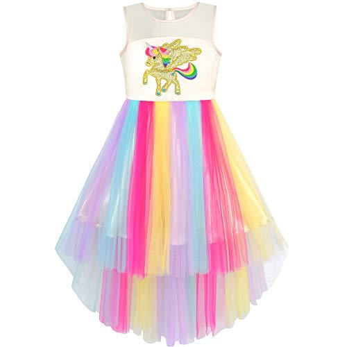 Mädchen Kleid Gestickt Einhorn Regenbogen Urlaub Festzug Gr. 134