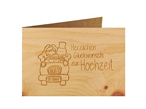 Holzgrußkarte - Hochzeitskarte - 100% handmade in Österreich - Postkarte Glückwunschkarte Geschenkkarte Grußkarte Klappkarte Karte Einladung, Motiv:HERZLICHEN GLÜCKWUNSCH ZUR HOCHZEIT Zirbe