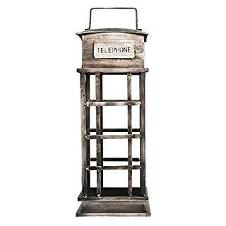 aubaho Wine shelf telephone box antique style 55cm metal wine bottle shelf (d)