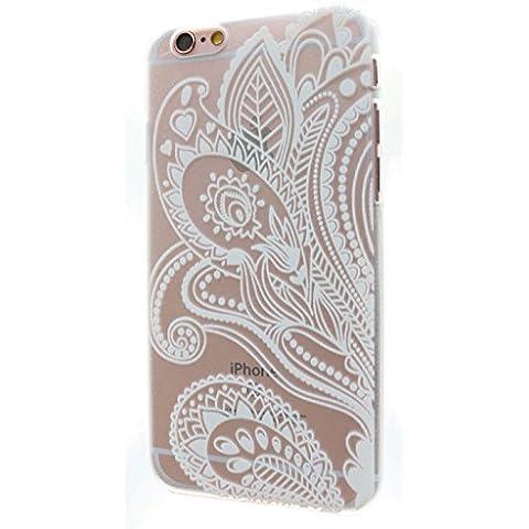 3Q Funda Apple iPhone 6 6S Carcasa Novedad Mayo 2016 Diseño Suizo Funda Transparente y Flor Henna Mandala