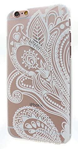 3Q iPhone 6 Hülle iPhone 6S Hülle Transparent mit Henna Mandala Dream Catcher Blume Weiss Handy Schutz-Hülle Durchsichtig Tasche Etui Bumper Case Cover Schweizer Premium Design und Verpackung