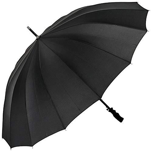VON LILIENFELD Regenschirm Stockschirm Partnerschirm Automatik Damen Herren Fiberglas 16 Stangen Sehr Stabil Cleo Schwarz