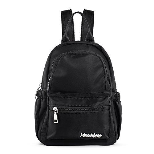 Katloo Nylon Damentasche -Mini Rucksack /Mädchen Lässige Rucksack - Schultertasche /Umhängetasche/ hultertasche Brusttasche mit Reißverschluss Schultergurt ( Schwarz) (Mini-nylon-rucksack)