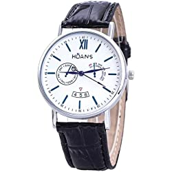 Men Wrist Watches - HUANS Men Rome digital Article Leather Band Quartz Wrist Watches Black Band+Silver Dial
