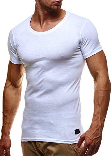LEIF NELSON Herren Basic T-Shirt Rundhals Sweatshirt Hoodie Hoody LN6373; Größe XL, Weiss (Männer Weiß Pullover Weste)
