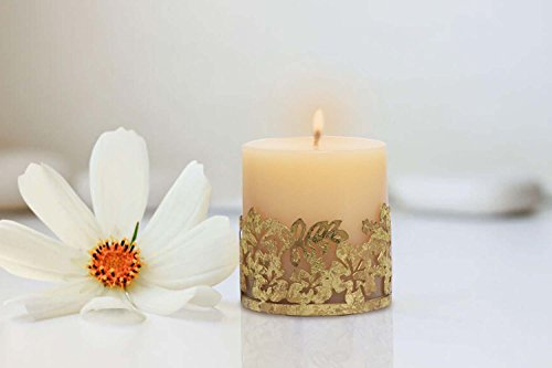 Vanilla Scented Candle Pillar with Beautiful Gold Grid Candle Holder | The...