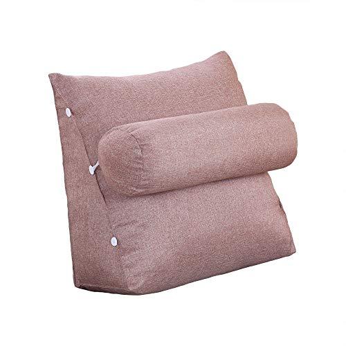 Vercart - cuscino da lettura, base triangolare, con supporto cilindrico, regolabile, per divano letto, sostegno per schiena e collo, in lino, sfoderabile, lino, marrone, 60x50x22cm