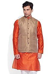 SRI Mens Faux Silk Textured Nehru Jacket Size:- 46 / Xxxl (Beige)