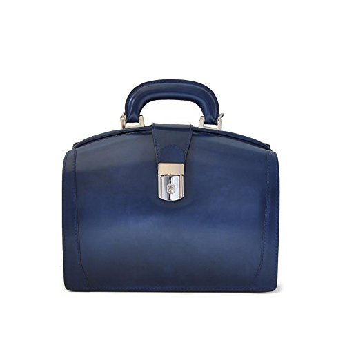 Pratesi Miss Brunelleschi Italienische Radica Leder Aktentasche Stil. Handtasche (Dunkelblau) -