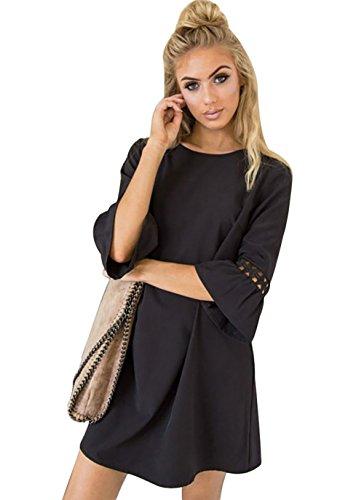 (Aitos A Linie Kleider Damen 3/4 Arm Sommerkleid Tunika Elegante Minikleider Strandkleider Partykleid Schick Causal Lose Schwarz M/Brust 98cm)