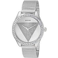 GUESS Silver-Tone Glitz Logo Mesh Bracelet Watch. Color: Silver-Toned (Model: U1142L1)