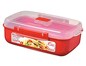 Sistema Microwave Rectangular Container, 1.25 L - Red/Clear