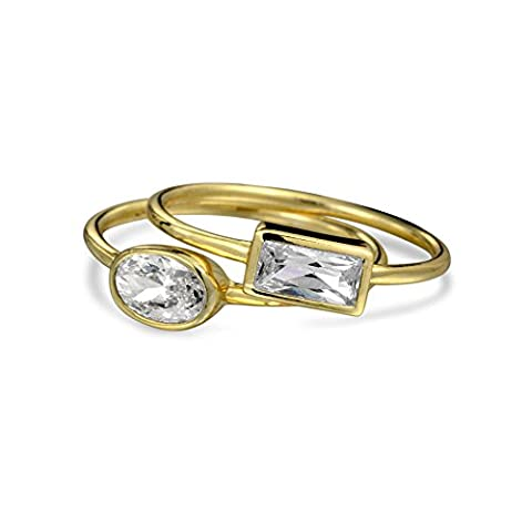 Modern CZ Geometric Stacked Midi Ring Set Gold Plated Silver