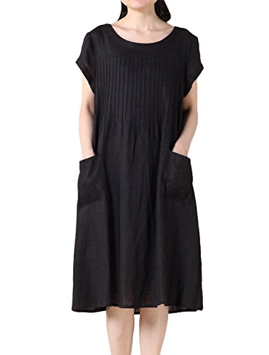 MatchLife Femmes O-Cou Top Manches Courtes Robe Noir