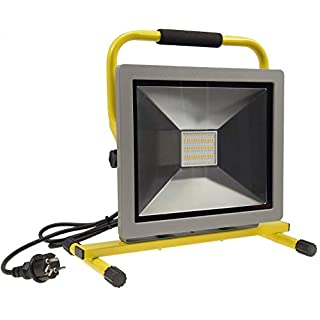 ChiliTec LED Baustrahler Arbeitsleuchte Fluter 30 bis 100 Watt I max. 6500 Lumen neutralweiß 4200k Ständer 1,4m Kabel Sicherheitsglas (100 Watt mit Standfuß)