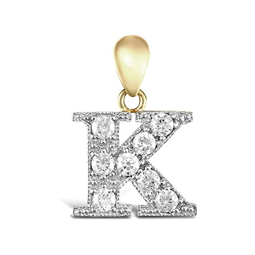 Jewelco Londra 9K a 2 colori oro CZ spianare identità ciondolo iniziale fascino