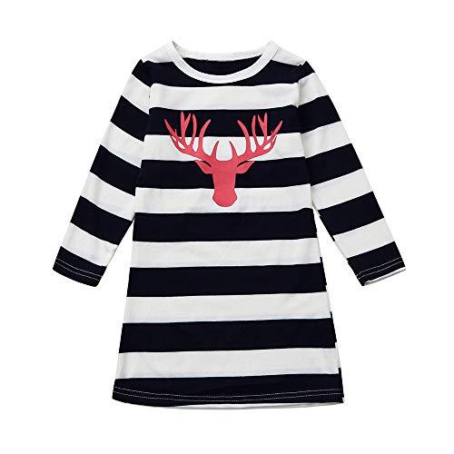 JiaMeng Mom & Mädchen Weihnachtskleidung Weihnachten Elch Kleid Familie Outfits Kleidung