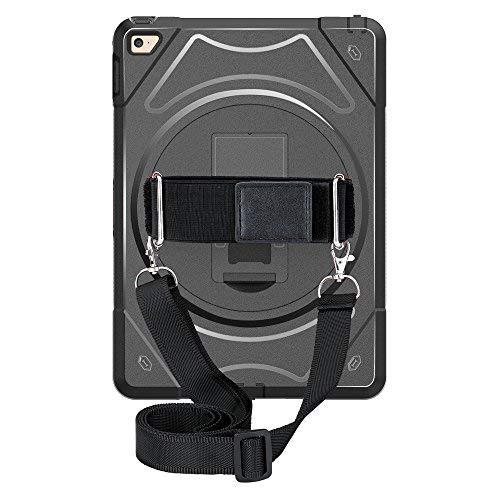 iPad Mini 4Schutzhülle 360Grad Seitenständer Verstellbar Griff und Umhängeband Hand Schultergurt Fall DREI Schicht stoßfest Schutzhülle Ultra Hybrid Schwarz -