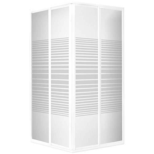 Accès d'angle extensible avec portes de douche coulissantes, 75 - 88 x 175 cm, verre de sécurité, décor rayures horizontales, profilés blancs