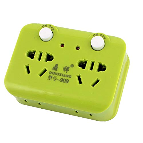 ZCHXD AU to AU EU US 250VAC 10A 2-Outlets 2 On/Off Button Red Lamp Indicator Power Socket Green -